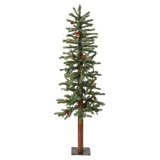 7' Green Alpine Berry Artificial Christmas Tree with 300 LED White Lights and Frosted