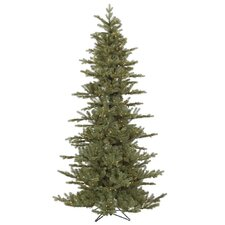 "Austrian 7' 6"" Green Fir Slim Artificial Christmas Tree with 500 Dura-Lit Clear Lights with Stand"