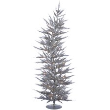 <strong>Vickerman Co.</strong> Colorful Laser 5' Silver Artificial Christmas Tree with 100 Clear Lights