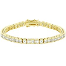Gold-Tone Emerald Cut Clear Cubic Zirconia Tennis Bracelet
