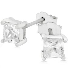 Sterling Silver Princess-Cut Cubic Zirconia Mini Stud Earrings