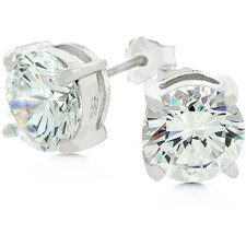 White Gold Bonded Sterling Silver Stud Cubic Zirconia Earrings