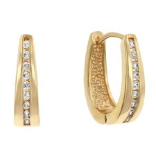 Elegant Gold-Tone Cubic Zirconia Hoops Earrings