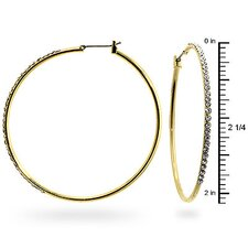 Gold-Tone Thin Cubic Zirconia Hoop Earrings