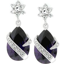 Silver-Tone Purple Cubic Zirconia Drop Earrings