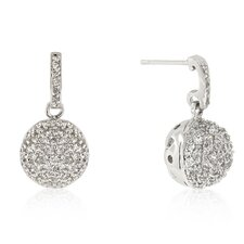 <strong>Kate Bissett</strong> Round Cut Clear Cubic Zirconia Crystal Ball Dangle Earrings
