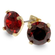 Gold-Tone Oval Red Cubiz Zirconia Stud Earrings