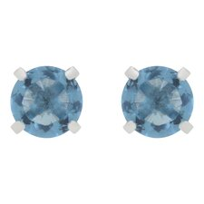 Aqua Blue Cubic Zirconia Stud Earrings