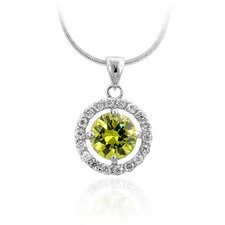 Silver-Tone Green Cubiz Zirconia Drop Pendant Necklace