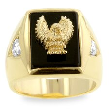 <strong>Kate Bissett</strong> Men's Gold-Tone Golden Eagle with Onyx Ring
