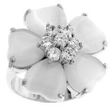Silver-Tone White Cat's Eye Flower Cubic Zirconia Ring