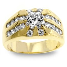<strong>Kate Bissett</strong> Men's Gold-Tone Cubic Zirconia Ring