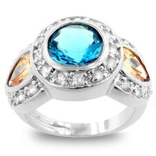 "0.4"" Silver-Tone Designer Inspired Blue Cubic Zirconia Cocktail Ring"