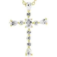 Gold-Tone Cubic Zirconia Cross Necklace