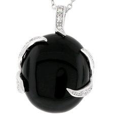 Silver-Tone Black Stone Fashion Cubic Zirconia Pendant