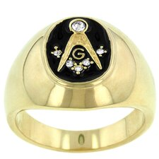 Round Cut Cubic Zirconia Men's Masonic Ring