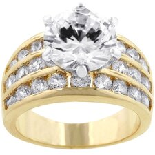Gold-Tone Triple Band Large Cubic Zirconia Ring