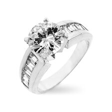 Sterling Silver Large Cubic Zirconia Engagement Ring