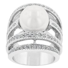 Freshwater Cultured Pearl and Cubic Zirconia Accents Right-Hand Cultured Pearl Ring