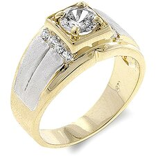 <strong>Kate Bissett</strong> Men's Two-Tone Cubic Zirconia Ring