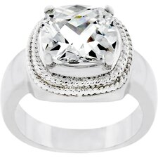 <strong>Kate Bissett</strong> Silver-Tone Clear Five Carat Cubic Zirconia Princess Cut Solitaire Ring