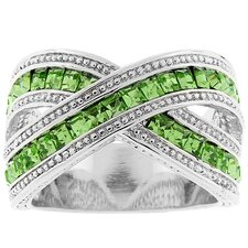 <strong>Kate Bissett</strong> Silver-Tone Criss-Cross Green Cubic Zirconia Ring
