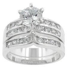 Round Cut Clear Cubic Zirconia Wedding Ring Set