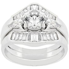 Sterling Silver Round-Cut Cubic Zirconia Engagement Ring