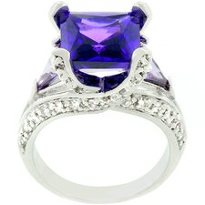 Silver-Tone Purple and Clear Verbose Ring