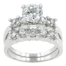 <strong>Kate Bissett</strong> Clear Cubic Zirconia Classical Wedding Ring Set