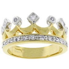 <strong>Kate Bissett</strong> Two-Tone Crown Fashion Cubic Zirconia Ring