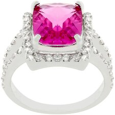 Silver-Tone Fuchsia Cubic Zirconia Cocktail Ring