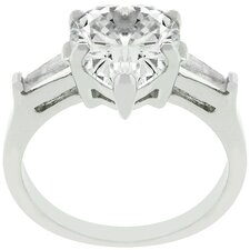 White Gold Rhodium Bonded Heart Triplet Cubic Zirconia Ring