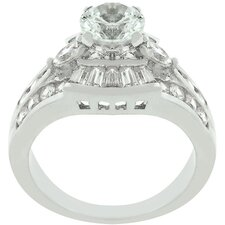 White Gold Cubic Zirconia Centennial Ring