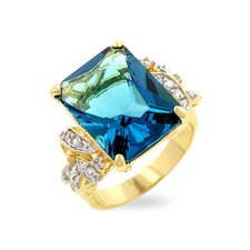 <strong>Kate Bissett</strong> Two-Tone Emerald Cut Blue Cubic Zirconia Cocktail Ring