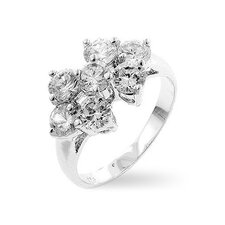 Silver-Tone Flower Cubic Zirconia Ring