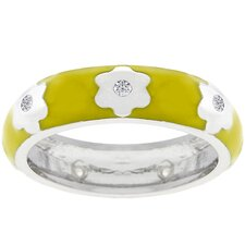 White Gold-Plated Yellow Cubic Zirconia Flower Ring