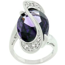 White Goldplated Purple Cubic Zirconia World Wonder Ring