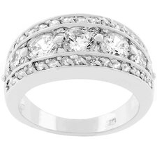 "Silver-Tone ""Illumination"" Cubic Zirconia Ring"