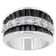 <strong>Kate Bissett</strong> Imitation Onyx and Clear Cubic Zirconia Itza Ring