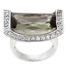 <strong>Kate Bissett</strong> Clear Cubic Zirconia Ivy Cradle Cocktail Ring