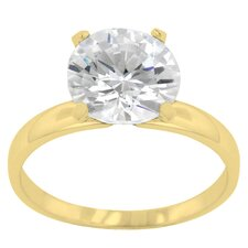 <strong>Kate Bissett</strong> Round Cut Clear Cubic Zirconia Petite Gold Solitaire Ring