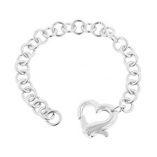 White Gold Rhodium Heart Bracelet