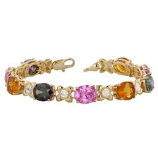 White Gold Rhodium Mystic Orange and Pink Ice Cubic Zirconia Tennis Bracelet