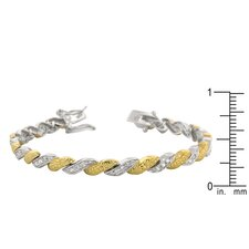 White Gold Rhodium and 14k Gold Bonded Clear Cubic Zirconia Tennis Bracelet