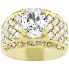 Gold-Tone Clear Oval Cut Cubic Zirconia Men's Ring
