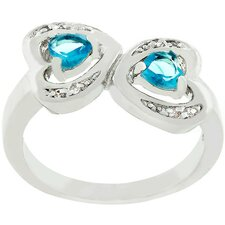 Silver-Tone Aqua Cubic Zirconia Connecting Hearts Ring