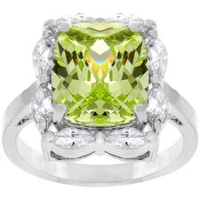 Silver-Tone Large Green Cubic Zirconia Ring