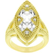 Gold-Tone Matted X Design Cubic Zirconia Fashion Ring