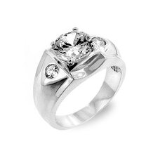 "<strong>Kate Bissett</strong> Silver-Tone Men""s Clear Cubic Zirconia 3 Stone Ring"